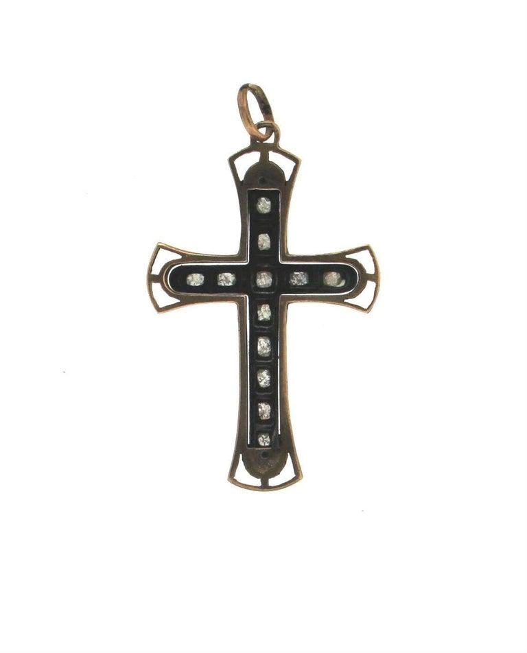 Artisan Handcraft Cross 9 Karat Yellow Gold Diamonds Pendant Necklace For Sale