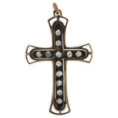 Handcraft Cross 9 Karat Yellow Gold Diamonds Pendant Necklace