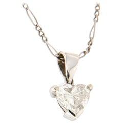 Handcraft Diamond Heart Platinum Pendant Necklace