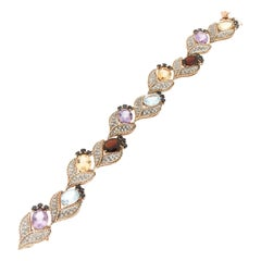 Handcraft Diamonds 14 Karat Yellow and White Gold Sapphires Cuff Bracelet