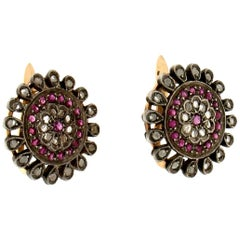 Handcraft Diamonds 14 Karat Yellow Gold and Silver Ruby Stud Earrings