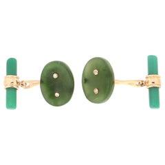 Handcraft Diamonds 14 Karat Yellow Gold Green Agate Cufflinks