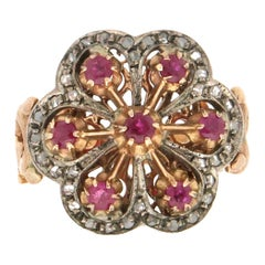Handcraft Diamonds 14 Karat Yellow Gold Ruby Cocktail Ring