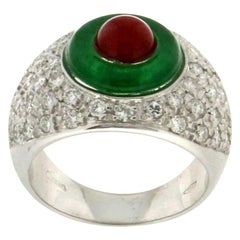Handcraft Diamonds 18 Karat White Gold Agate Coral Band Ring