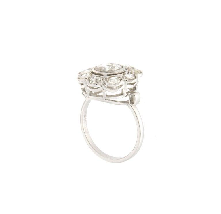 Artisan Handcraft Diamonds 18 Karat White Gold Engagement Ring For Sale