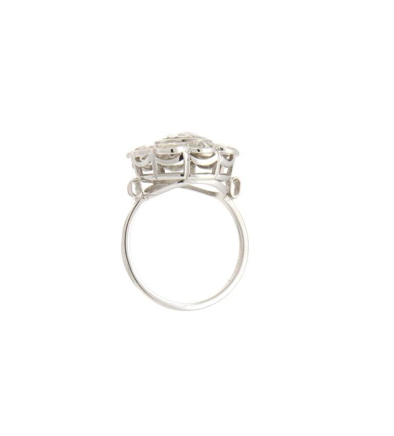 Rose Cut Handcraft Diamonds 18 Karat White Gold Engagement Ring For Sale