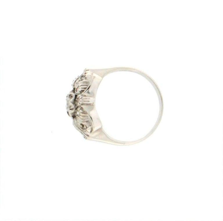 Women's or Men's Handcraft Diamonds 18 Karat White Gold Engagement Ring For Sale