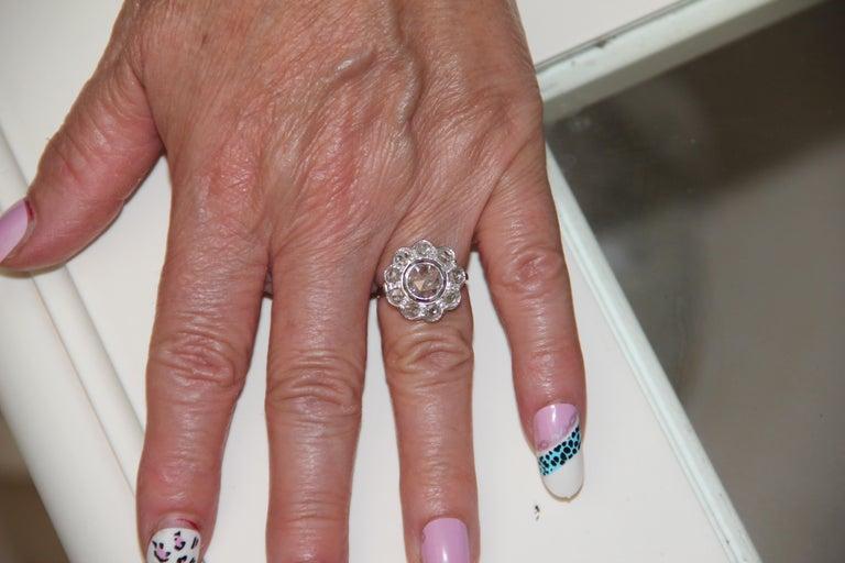 Handcraft Diamonds 18 Karat White Gold Engagement Ring For Sale 2