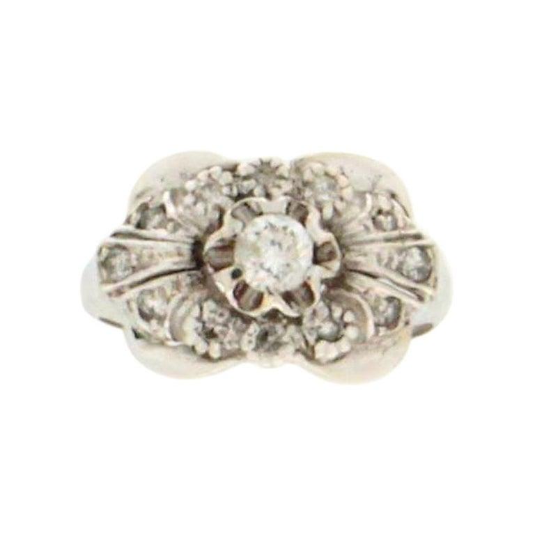 Handcraft Diamonds 18 Karat White Gold Engagement Ring For Sale