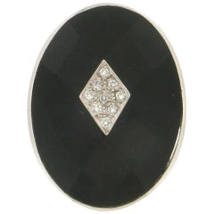 Handcraft Diamonds 18 Karat White Gold Onyx Cocktail Ring