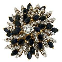 Handcraft Diamonds 18 Karat Yellow Gold Sapphires Cocktail Ring
