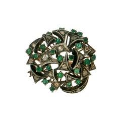Handcraft Diamonds 9 Karat Yellow Gold Emerald Cocktail Ring