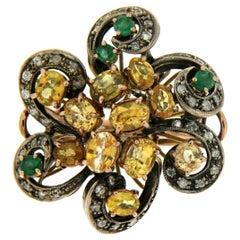 Handcraft Diamonds 9 Karat Yellow Gold Sapphires Emerald Cocktail Ring