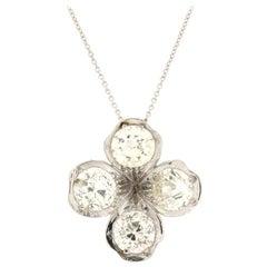 Handcraft Diamonds Flower 18 Karat White Gold Pendant Necklace