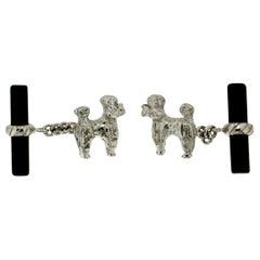 Handcraft Dog 18 Karat White Gold Onyx Cufflinks