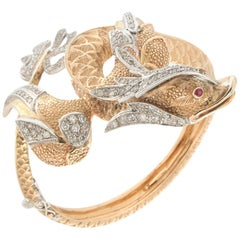Handcraft Dragon 14 Karat Yellow and White Gold Diamonds Bangle Bracelet