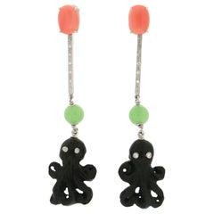 Handcraft Ebony Octopus 18 Karat White Gold Coral and Diamonds Drop Earrings