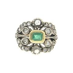 Handcraft Emerald 14 Karat Yellow Gold Diamonds Cocktail Ring