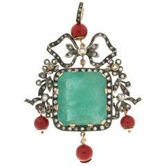 Handcraft Emerald 14 Karat Yellow Gold Diamonds Coral Pendant Necklace