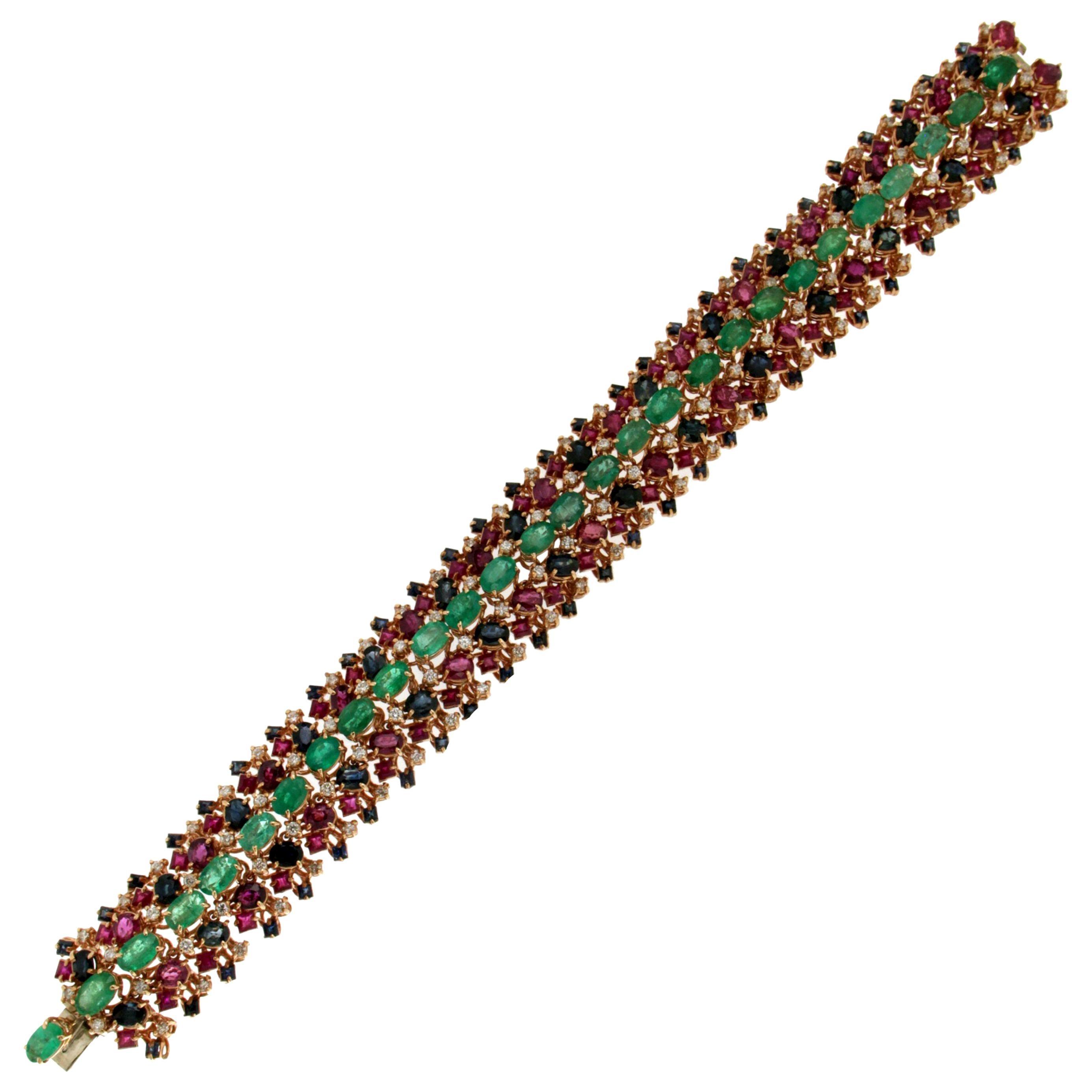 Handcraft Emerald 14 Karat Yellow Gold Diamonds Sapphires Ruby Cuff Bracelet
