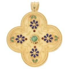 Handcraft Emerald 18 Karat Yellow Gold Blue Enamel Brooch and Pendant