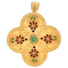 Handcraft Emerald 18 Karat Yellow Gold Red Enamel Brooch and Pendant