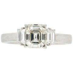Handcraft Emerald Cut Diamonds 18 Karat White Gold Engagement Ring