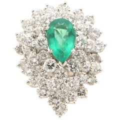 Handcraft Emerald Diamond Cluster Platinum Ring