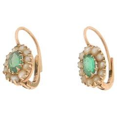 Handcraft Emeralds 14 Karat Yellow Gold Pearls Drop Earrings