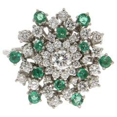 Handcraft Emeralds 18 Karat White Gold Diamonds Cocktail Ring