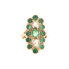 Handcraft Emeralds 18 Karat Yellow Gold Diamonds Cocktail Ring