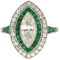 Handcraft Emeralds Platinum Marquise Diamonds Cocktail Ring