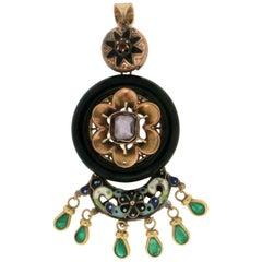 Handcraft Enamel 14 Karat Yellow Gold Emeralds Onyx Pendant Necklace