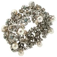 Handcraft Fancy Diamonds 18 Karat White Gold Japan Pearls Cuff Bracelet