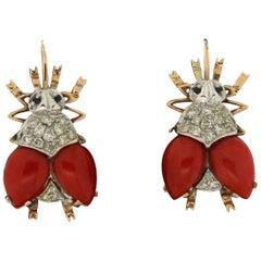 Handcraft Flies 14 Karat Yellow and White Gold Diamonds Coral Dangle Earrings