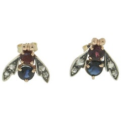 Handcraft Flies 14 Karat Yellow Gold Diamonds Sapphire Ruby Stud Earrings
