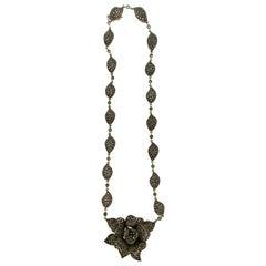 Handcraft Flower 14 Karat Yellow Gold Diamonds Emeralds Drop Necklace
