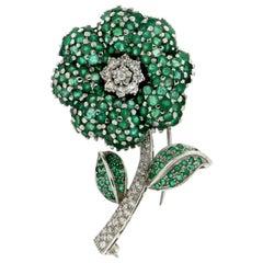 Handcraft Flower 18 Karat White Gold Diamonds Emeralds Brooch