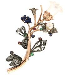 Handcraft Flower 9 Karat Yellow Gold Diamonds Precious Stones Brooch