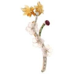 Handcraft Flowers 18 Karat White and Yellow Gold Diamonds Emeralds Ruby Brooch