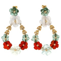 Handcraft Flowers 18 Karat Yellow Gold Diamonds Drop Earrings