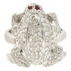 Handcraft Frog 18 Karat White Gold Diamonds Cocktail Ring