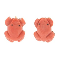 Handcraft Frog 18 Karat Yellow Gold Coral Stud Earrings