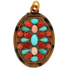 Handcraft Galalith 9 Karat Yellow Gold Coral Turquoise Pendant Necklace