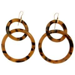 Handcraft Galalith 9 Karat Yellow Gold Drop Earrings