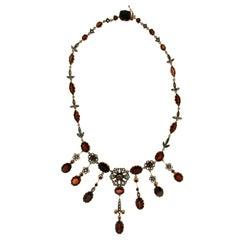 Handcraft Garnet 14 karat Yellow Gold Diamonds Choker Necklace