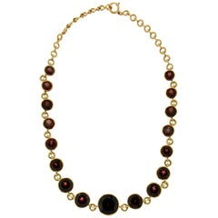 Handcraft Garnet 18 Karat Yellow Gold Choker Necklace