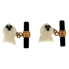 Handcraft Ghost 18 Karat Yellow Gold Agate and Onyx Cufflinks