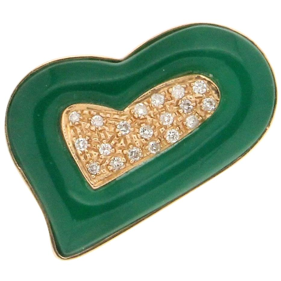 Handcraft Green Agate 18 Karat Yellow Gold Diamonds Cocktail Ring