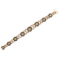 Handcraft Green Tourmaline 14 Karat Yellow Gold Diamonds Cuff Bracelet